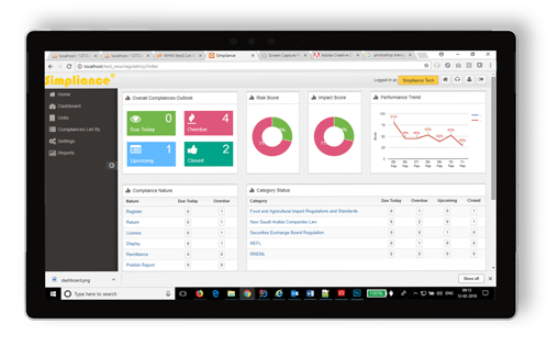simpliance enterprise risk management dashboard